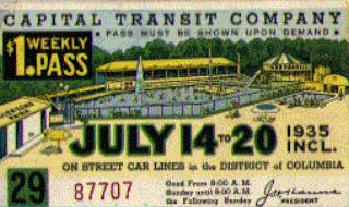 Trolley pass with Glen Echo Pool